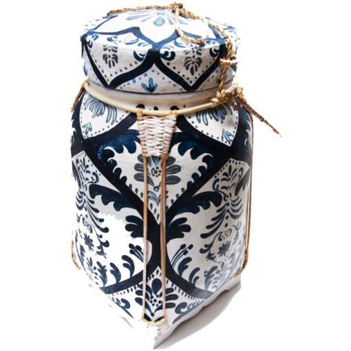 Decorative Rice Basket, White Base