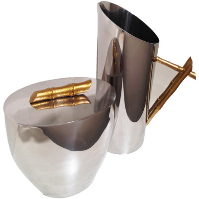 Pitcher And Ice Bucket Set With Gold Brushed Bamboo Handle