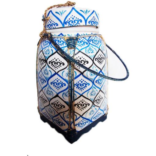 Decorative Rice Basket, Dark Blue Base