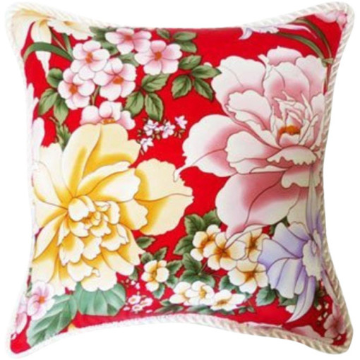 """Shirey"" Happy Flowers Silk Pillow"