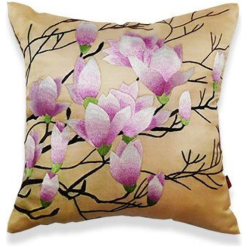 """Lara"" Hand Embroidered Floral Silk Pillow"