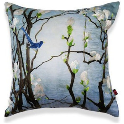 """Wilda"" Hand Embroidered Floral Silk Pillow"