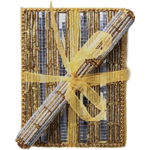 Beaded, Sequin Notepad and Pen Set, Silver, Gold