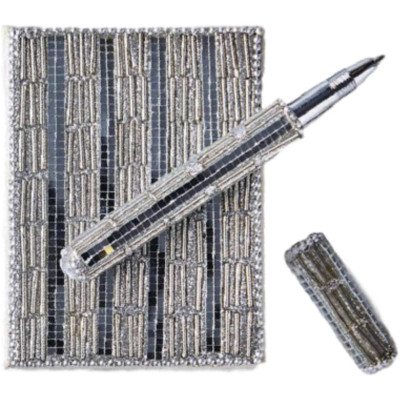 Beaded, Sequin Notepad and Pen Set, Silver