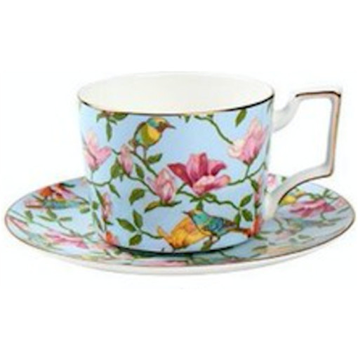 Floral Cup and Saucer Set, Blue
