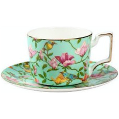 Floral Cup and Saucer Set, Green