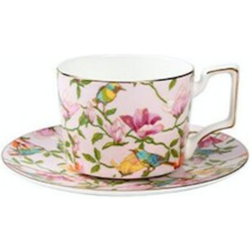 Floral Cup and Saucer Set, Pink