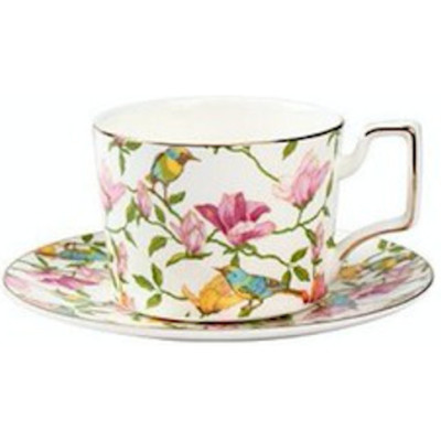 Floral Cup and Saucer Set, White
