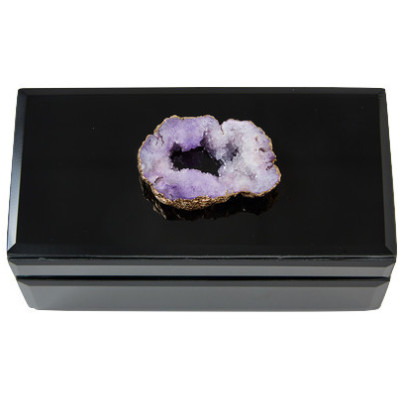 Geode Stone Topped Glass Box, Purple