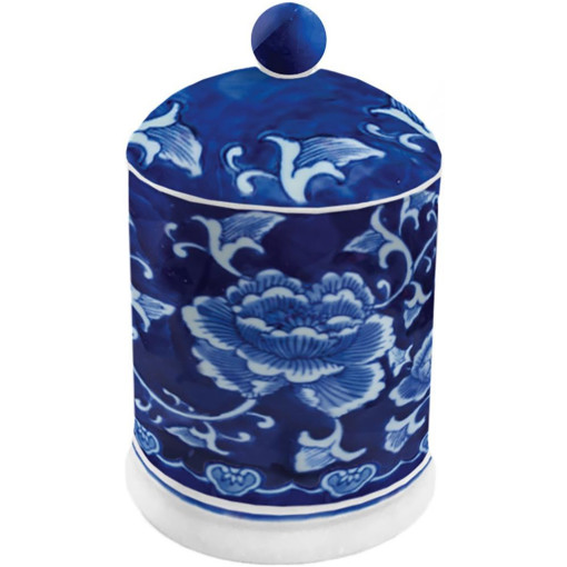 Blue and White Lidded Candle