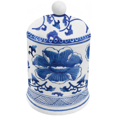 White and Blue Lidded Candle
