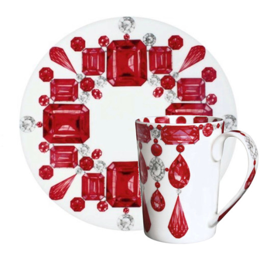 Ruby & Diamond Cups and Saucers