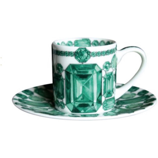 Emerald Cups and Saucers