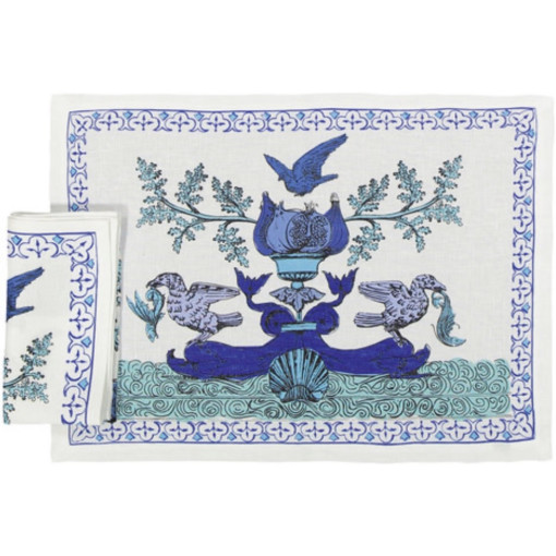 Blue and White Placemat and Napkin