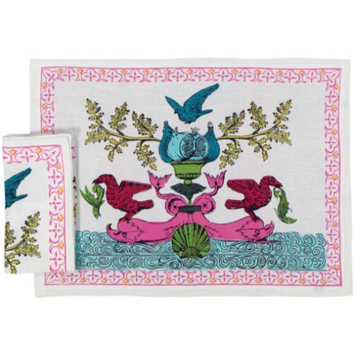 Pink and White Placemat and Napkin